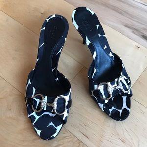 "Gucci 2"" inch heel peep toe sandals"